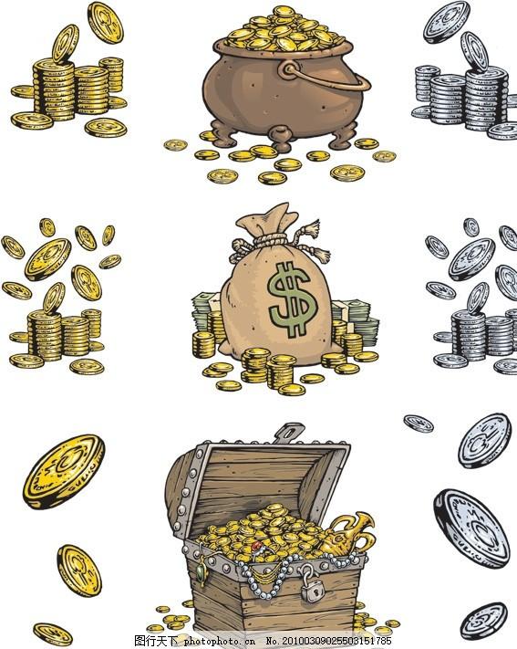 宝箱矢量素材 宝藏 金子 金币 木箱 箱子 金器