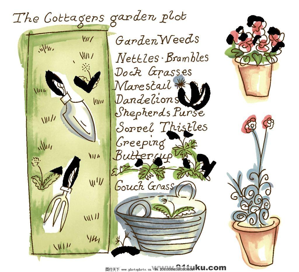 卡通花盆栽素材 植物 素描 手绘 源文件