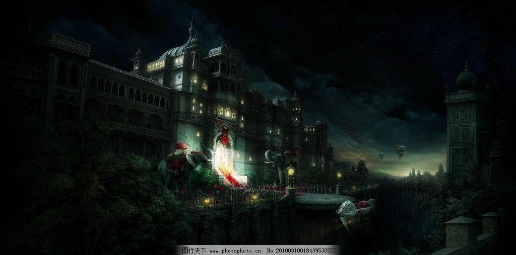 楼房 风景 夜晚 大象 树木 古代 震撼 大气 城堡 灯光 动漫动画