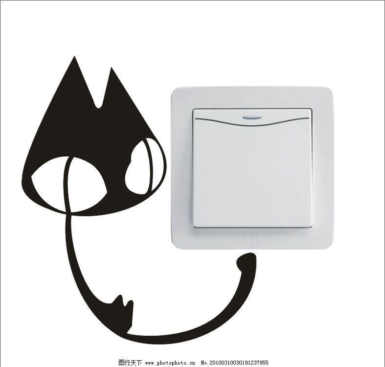 可爱卡通大眼猫开关贴墙贴图片