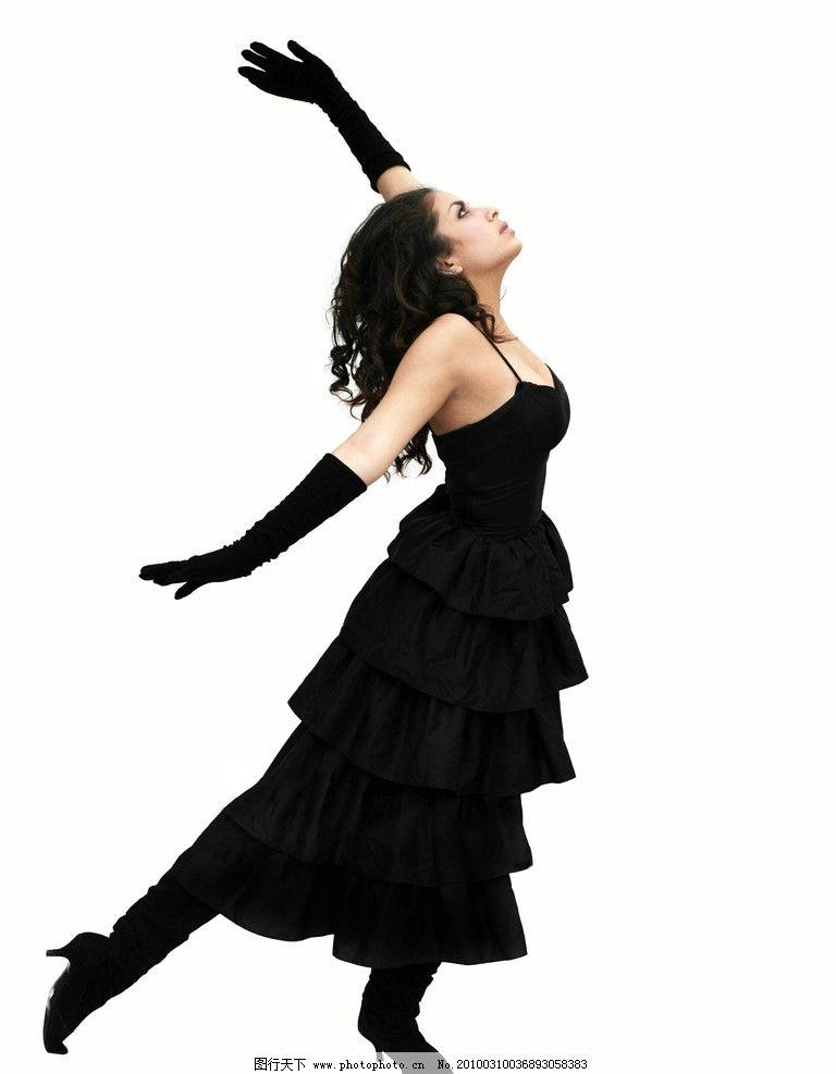 舞蹈家 跳舞 舞姿 黑纱裙 美女 礼服 美女模特摄影 女性女人 人物图库