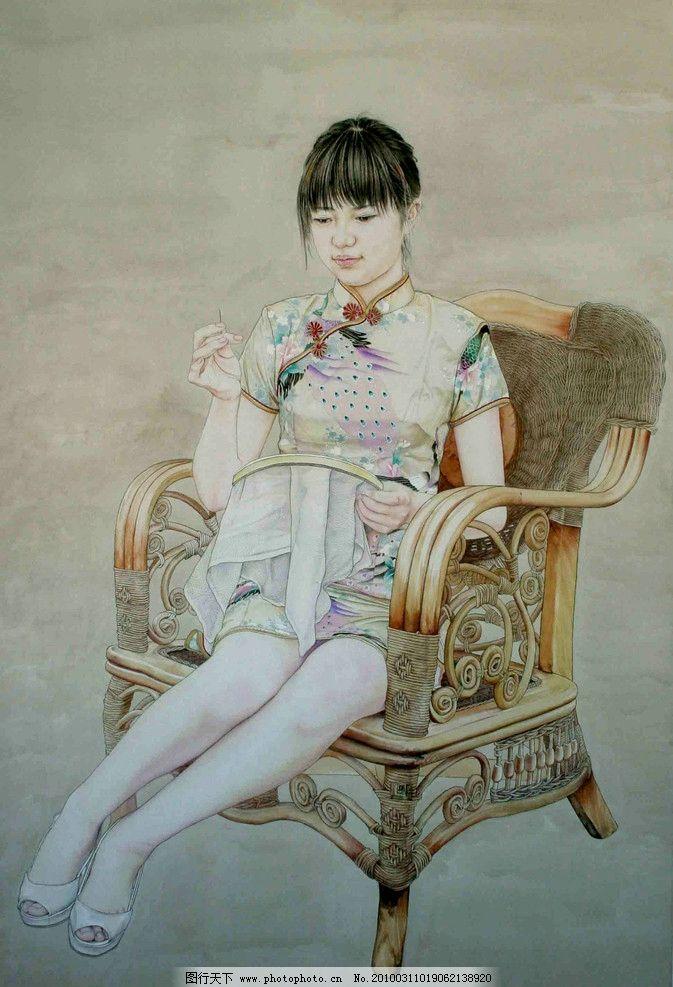 工笔人物图片,画 国画 工笔画 国画艺术 现代国画-图