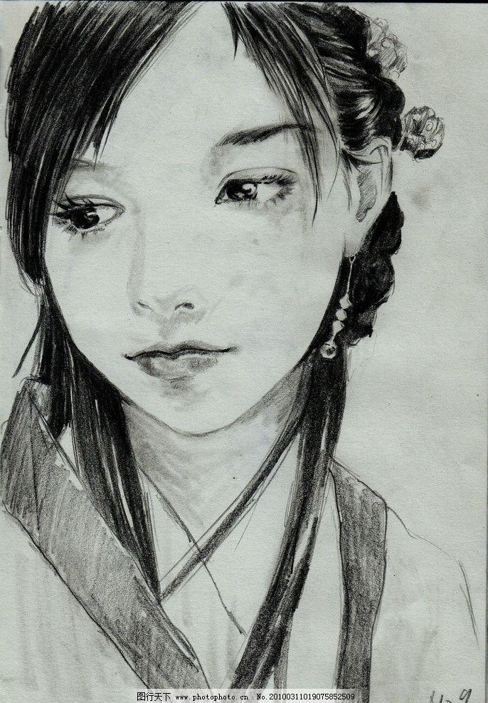 古风手绘花卉铅笔画展示