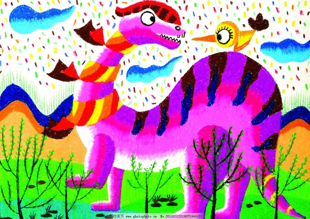 恐龙 儿童画 色彩鲜艳 童趣 油画棒画 绘画书法 文化艺术 设计 300dpi