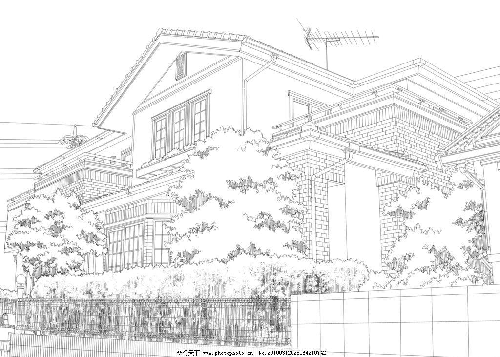 建筑线画 房屋 建筑 室内设计 线画 铅笔稿 漫画 海报设计 插图 景观