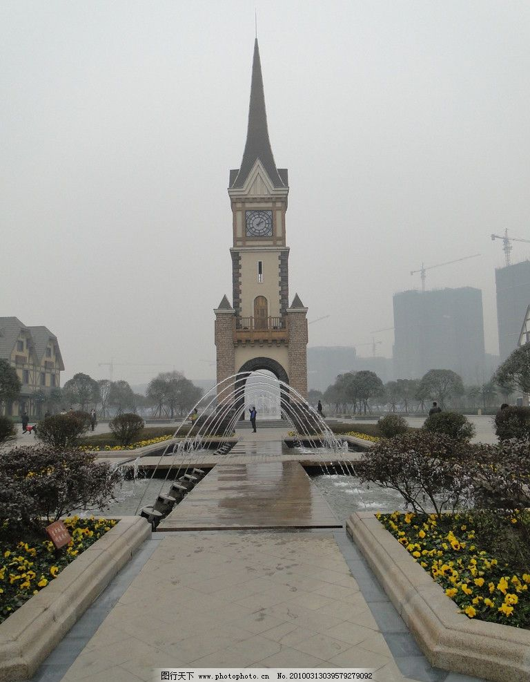欧式园林 欧洲 小镇 钟楼 喷泉 园林建筑 建筑园林 摄影 72dpi jpg