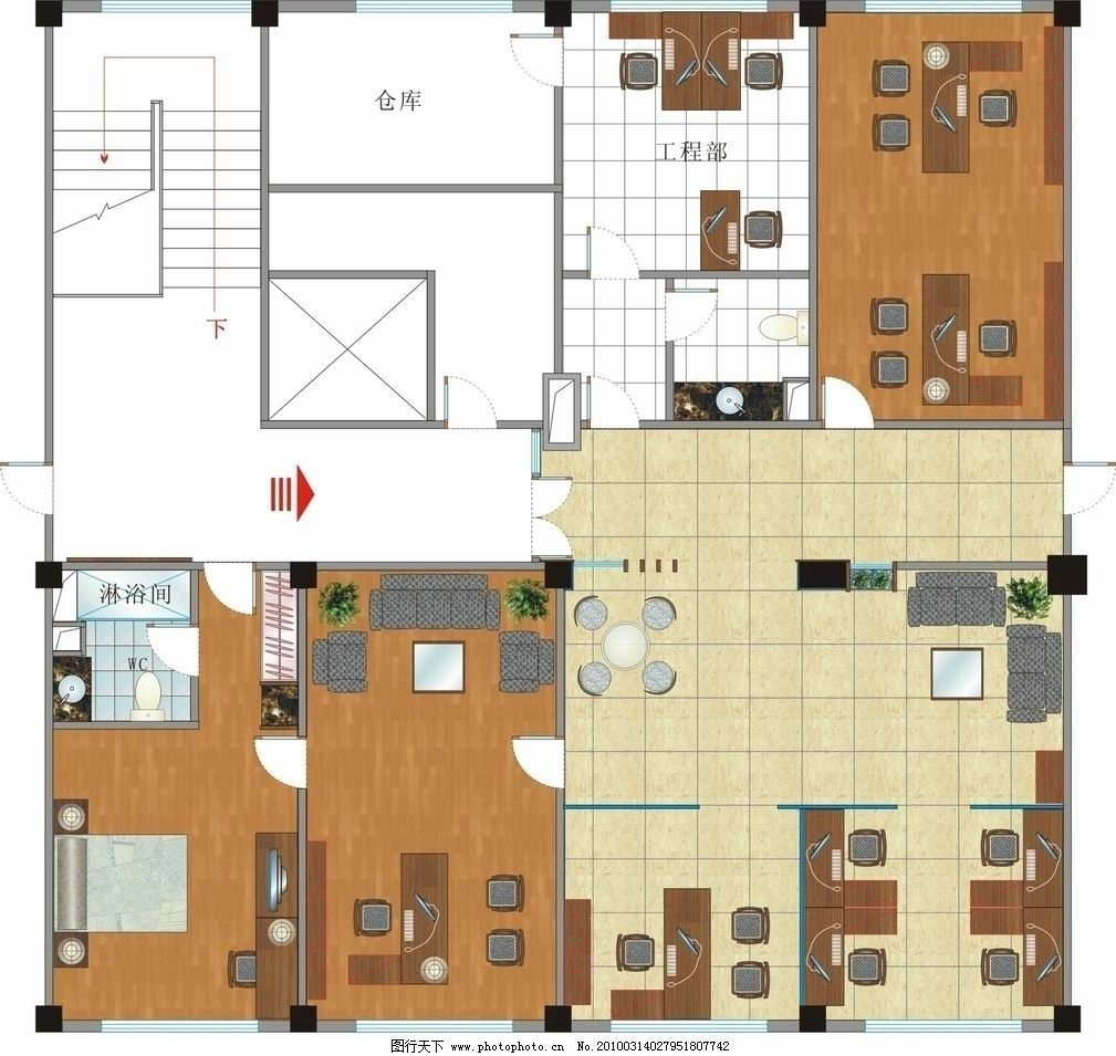 室内装饰设计平面图(cdr)图片