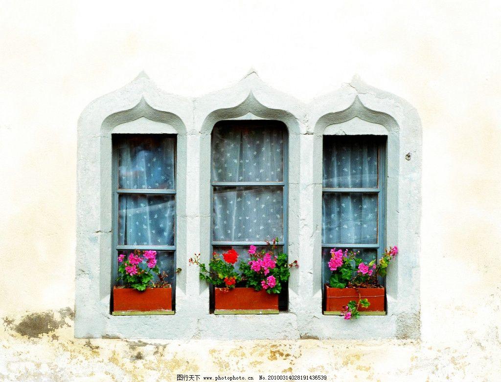 窗台前的花篮 别墅 花篮 装饰 美化 景观设计 欧式 装潢 经典 窗台