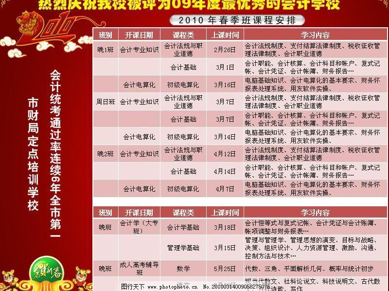 学校 学校招生 源文件 学校招生 学校 会计 课程 2010 新春 知识 展板