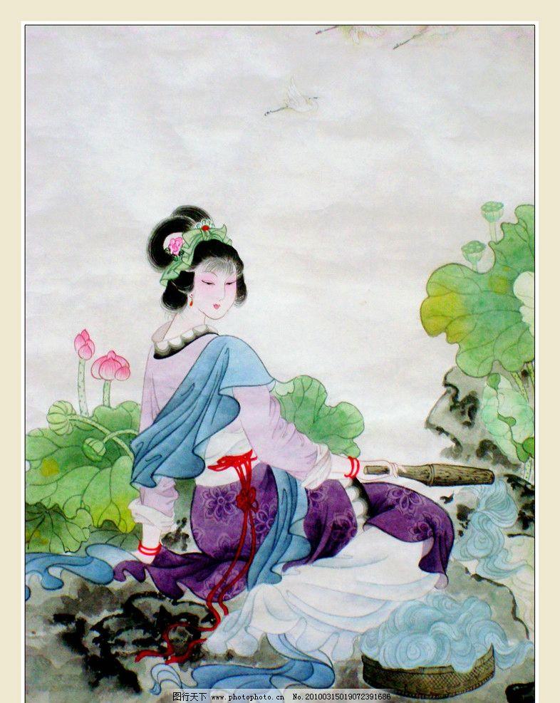 国画 工笔重彩画 工笔画 国画艺术 现代国画 国画人物 女人 丽人 美女