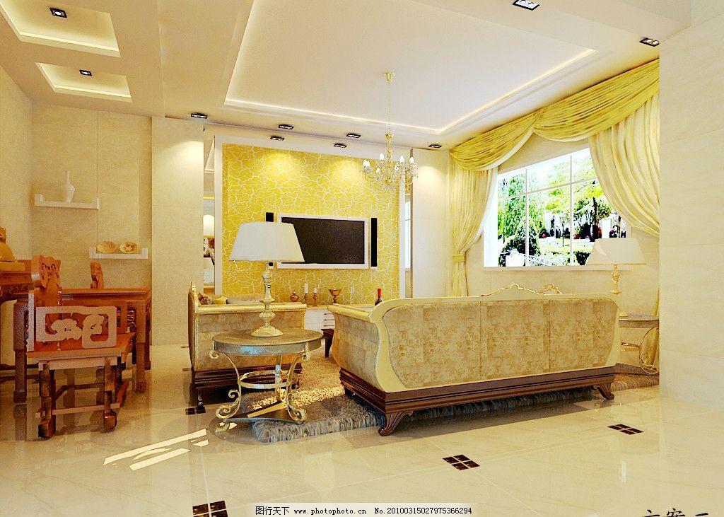 别墅 吊灯 沙发 室内效果图 客厅 窗帘 立体 壁画 室内装饰效果图