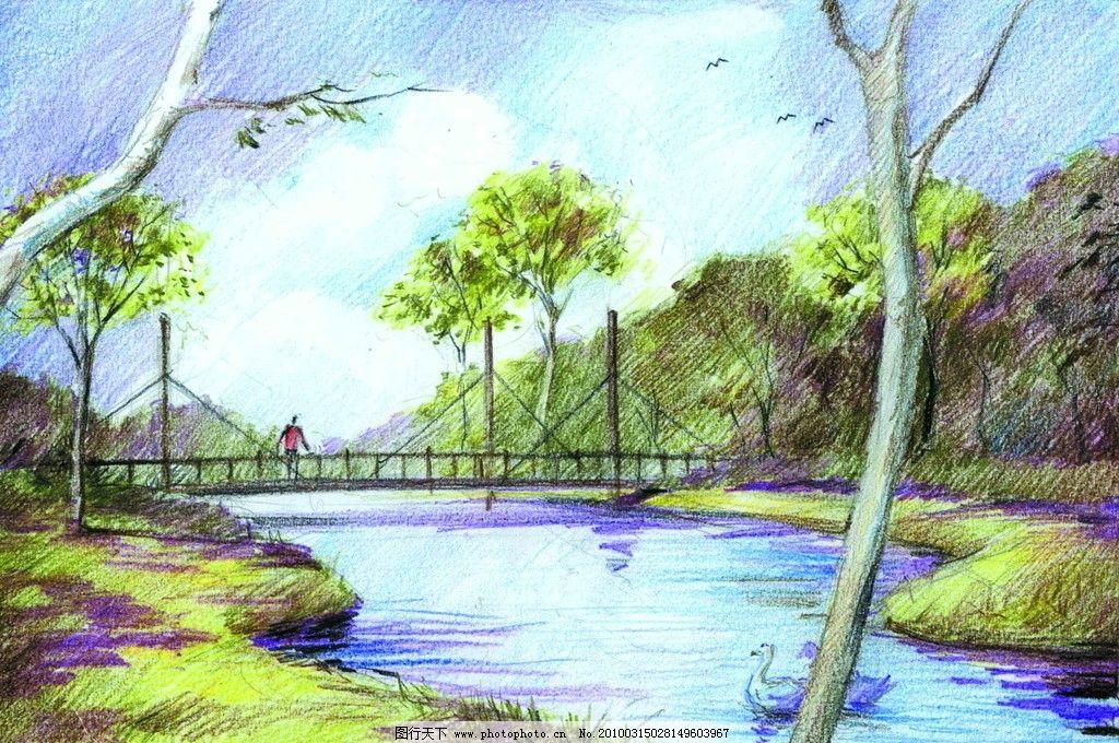 景观设计手绘效果图 景观 河流 树木 彩色铅笔 设计 手绘        景观