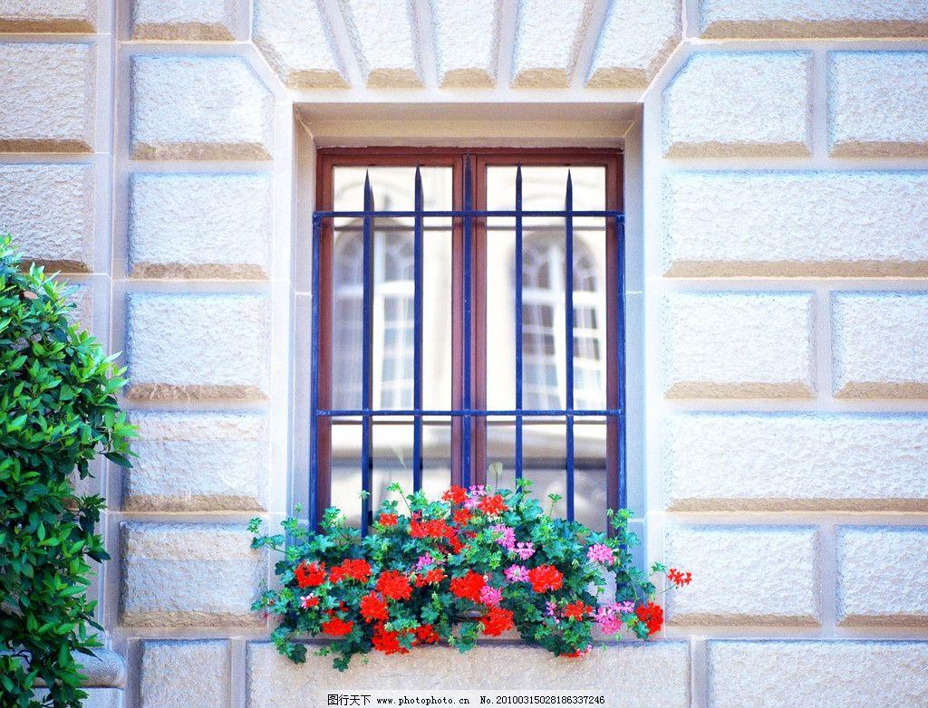 室外景观设计 花篮 窗户
