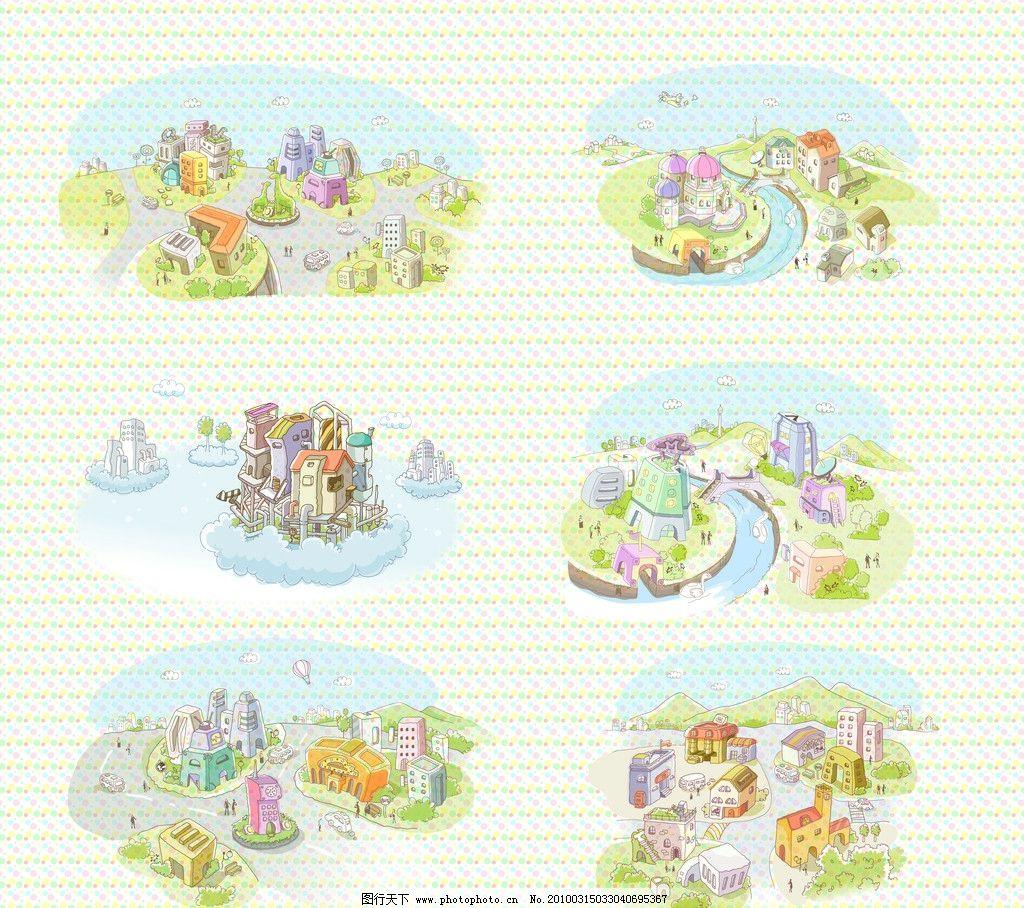 卡通线条城市风景图片