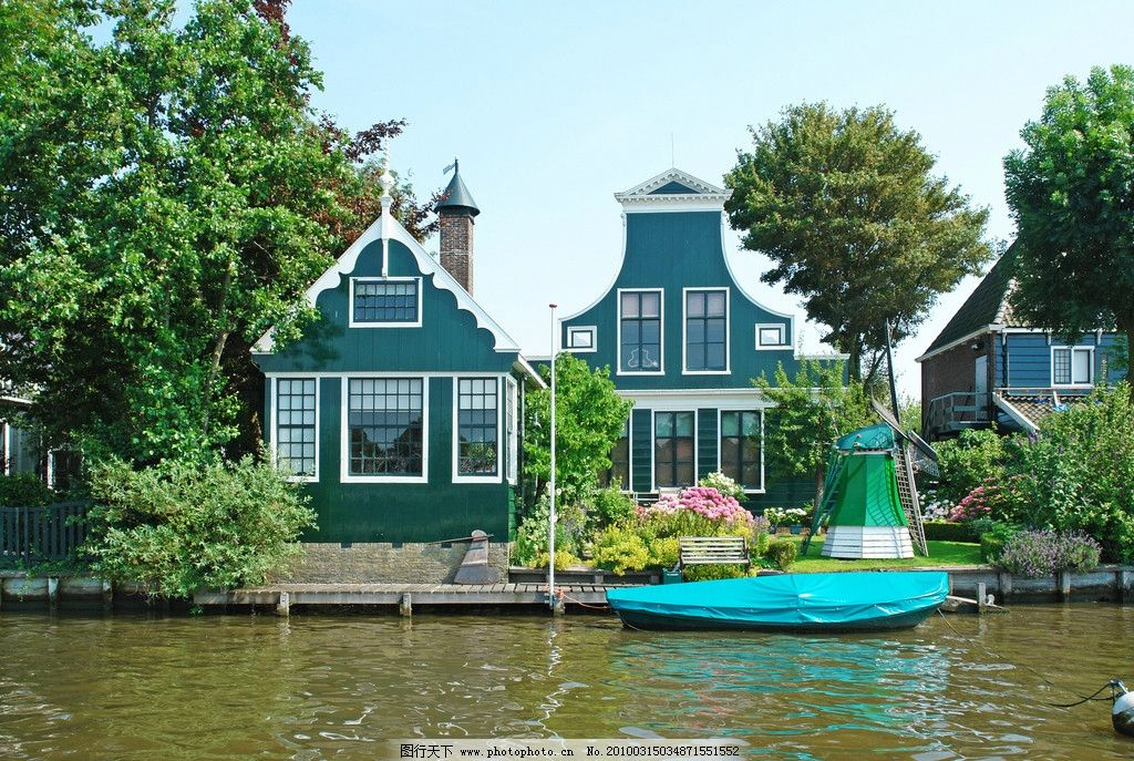 荷兰 旅游 风车 蓝天 白云 庄园 风景 摄影
