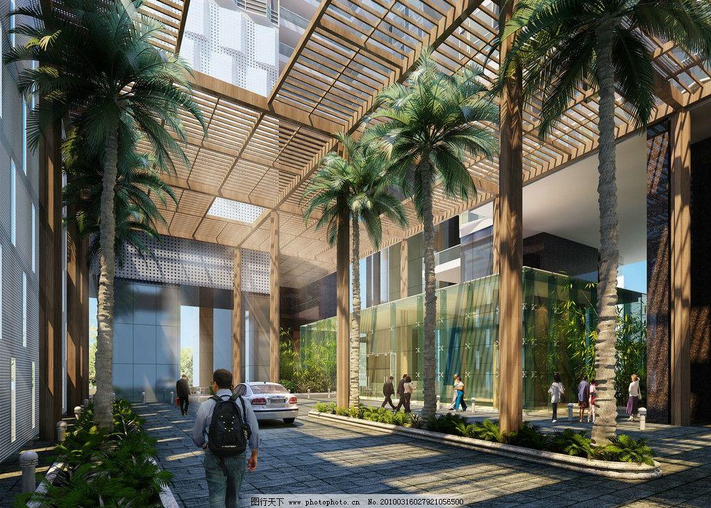 文化中心宾馆室内效果图 办公空间中庭 商场中庭等入口日景人视效果图