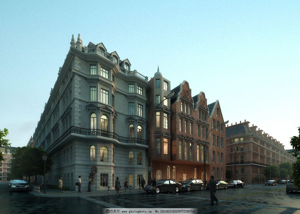 国外某酒店效果图 欧洲 某酒店 清晨 透视效果图 室外效果图 建筑设计