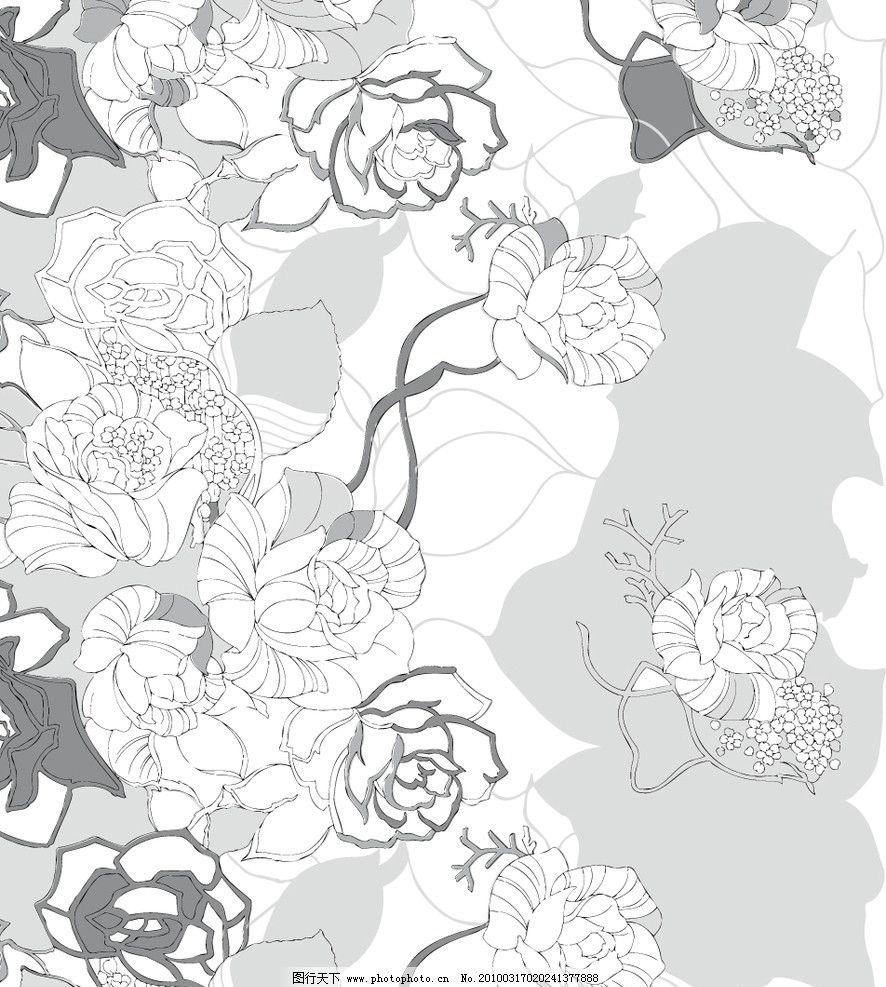 玫瑰花 黑底白色玫瑰 底纹背景 底纹边框 矢量 ai