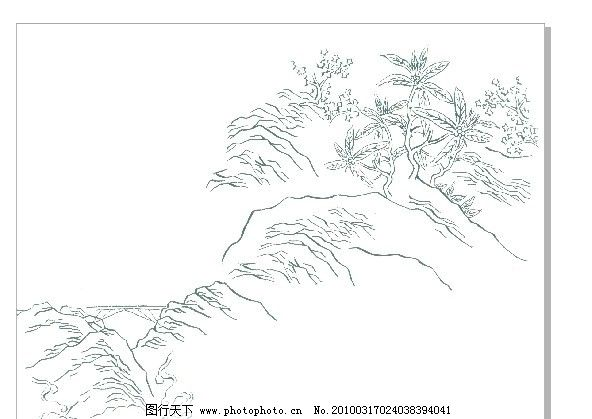山 黑白画 山水风景 自然景观 矢量 cdr