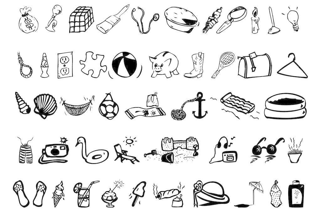 黑白手绘生活图标图片