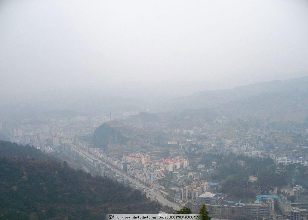 雾山城 风景 背景 建筑景观 自然景观 摄影 480dpi jpg