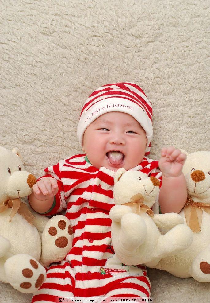 百日宝宝 儿童 圣诞老人 男孩 小熊 俏皮 可爱 儿童幼儿 人物图库