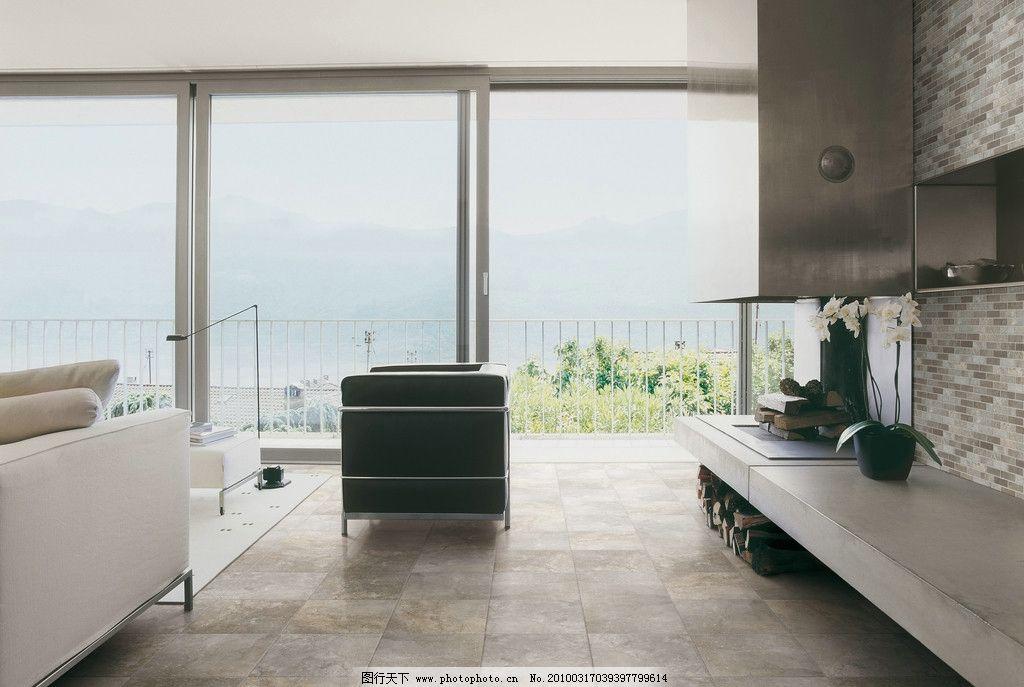 现代简约风格客厅瓷砖铺贴图 建筑 室内 简欧 仿古砖 铁锈砖 沙发