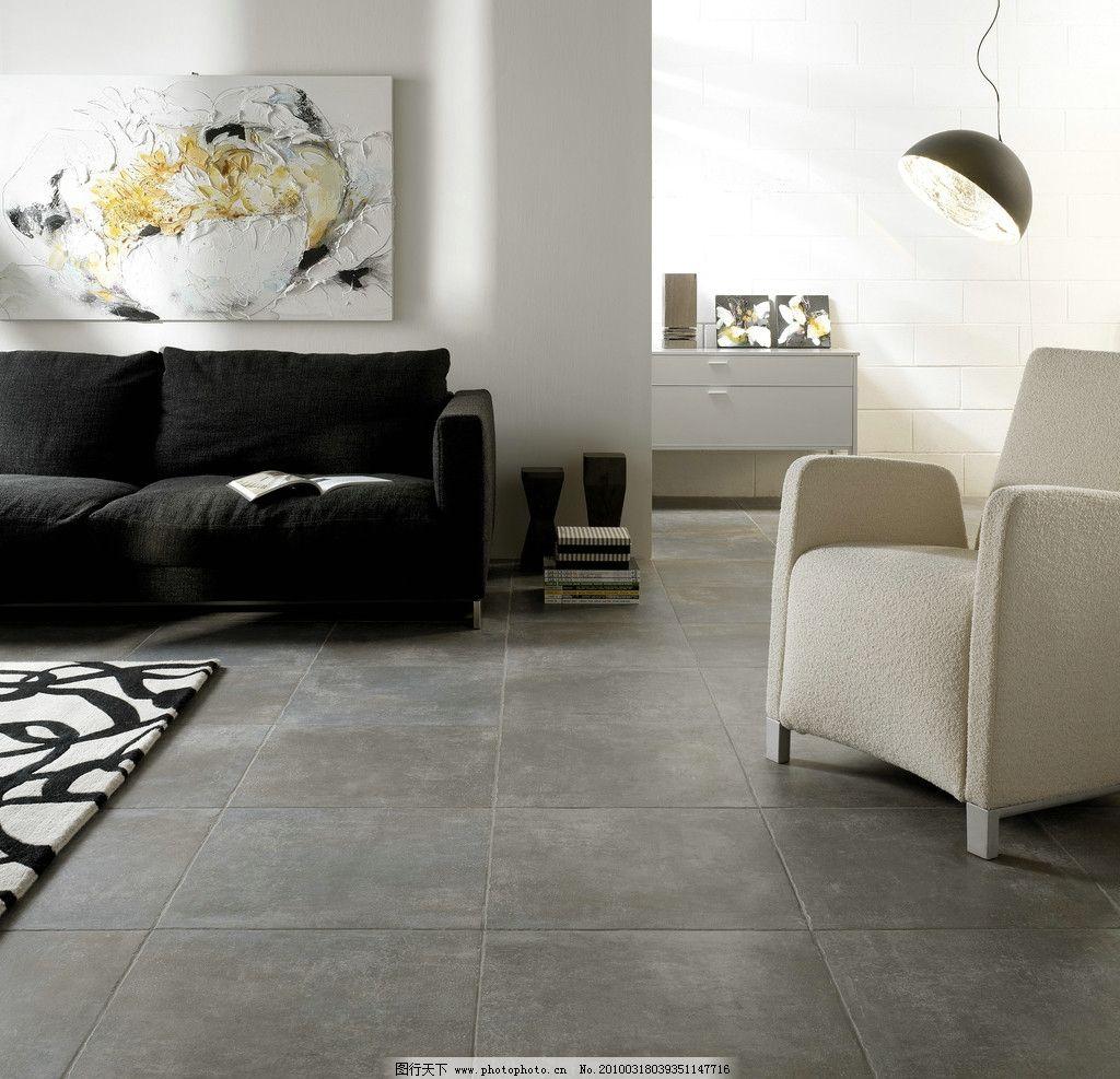 地面 油画 地毯 画框 抽象 黑白 吊灯 客厅瓷砖地砖铺贴图片 室内摄影