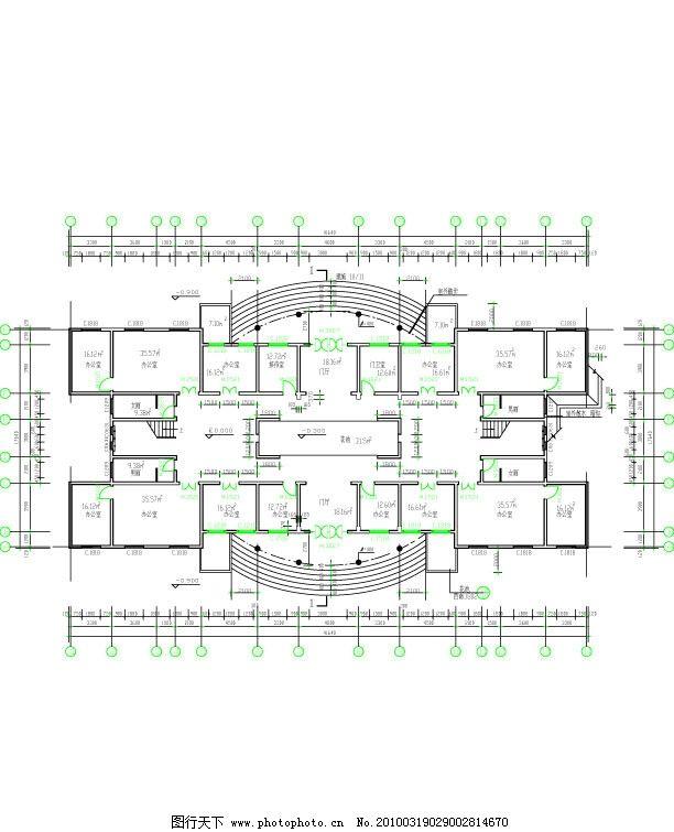 行政办公大楼底层平面图 行政楼 办公楼 办公室 设计图 建筑家居