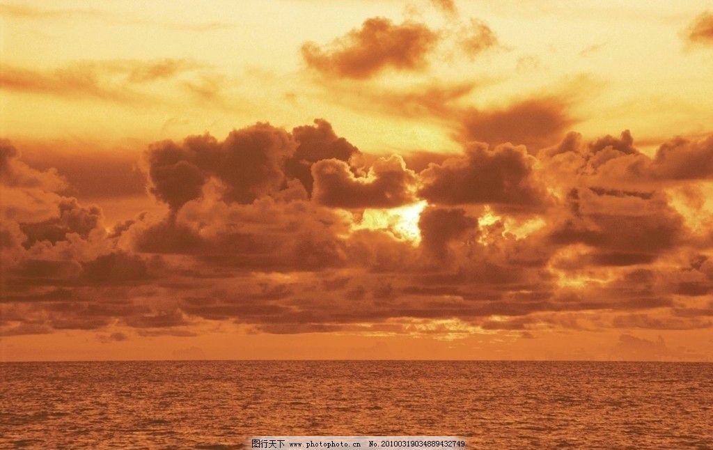 大海 天空 夕阳图片