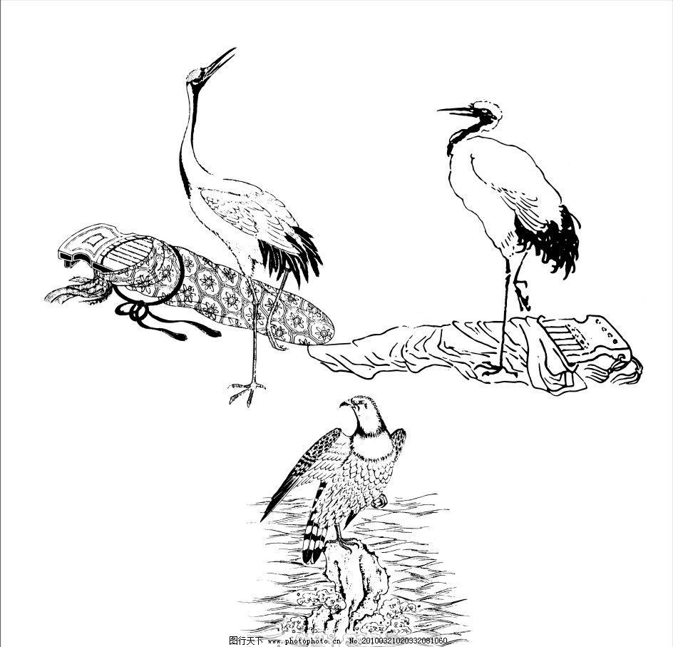 丹顶鹤 鹤 鸟 小鸟 三只鸟 花纹素材 花纹花边 底纹边框 矢量 cdr