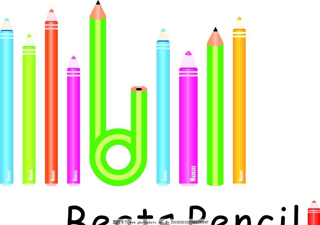 彩色铅笔 矢量 铅笔 彩色 英文 卡通 儿童 学习用品 生活百科 cdr