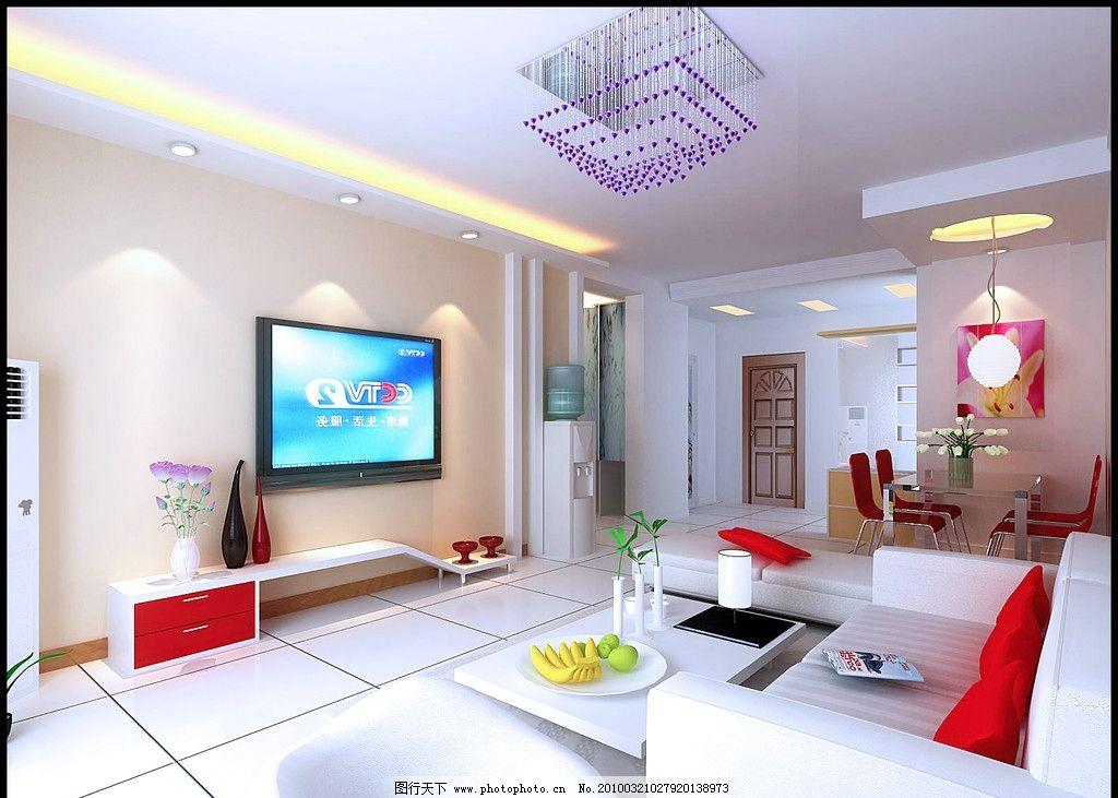 客厅效果图 电视柜 沙发 水晶灯 空调 吊顶等