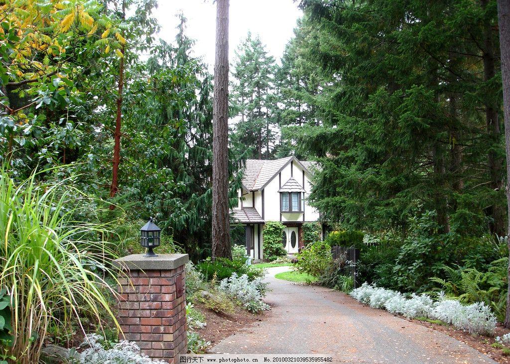 林中小屋 别墅 美丽的家园 树林 园林建筑 建筑园林 摄影 200dpi jpg