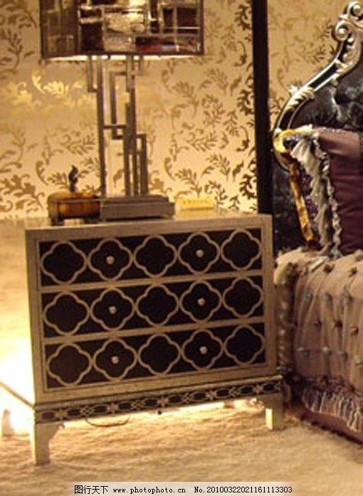 精致欧式家具主卧床头柜图片