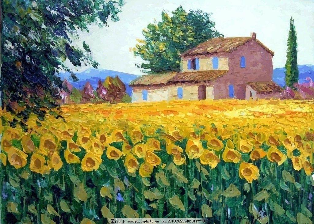 黄花 油画 风景 房子 村庄 山 油画风景系列 自然风景 自然景观 矢量