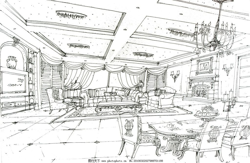 客厅设计      手绘 室内设计