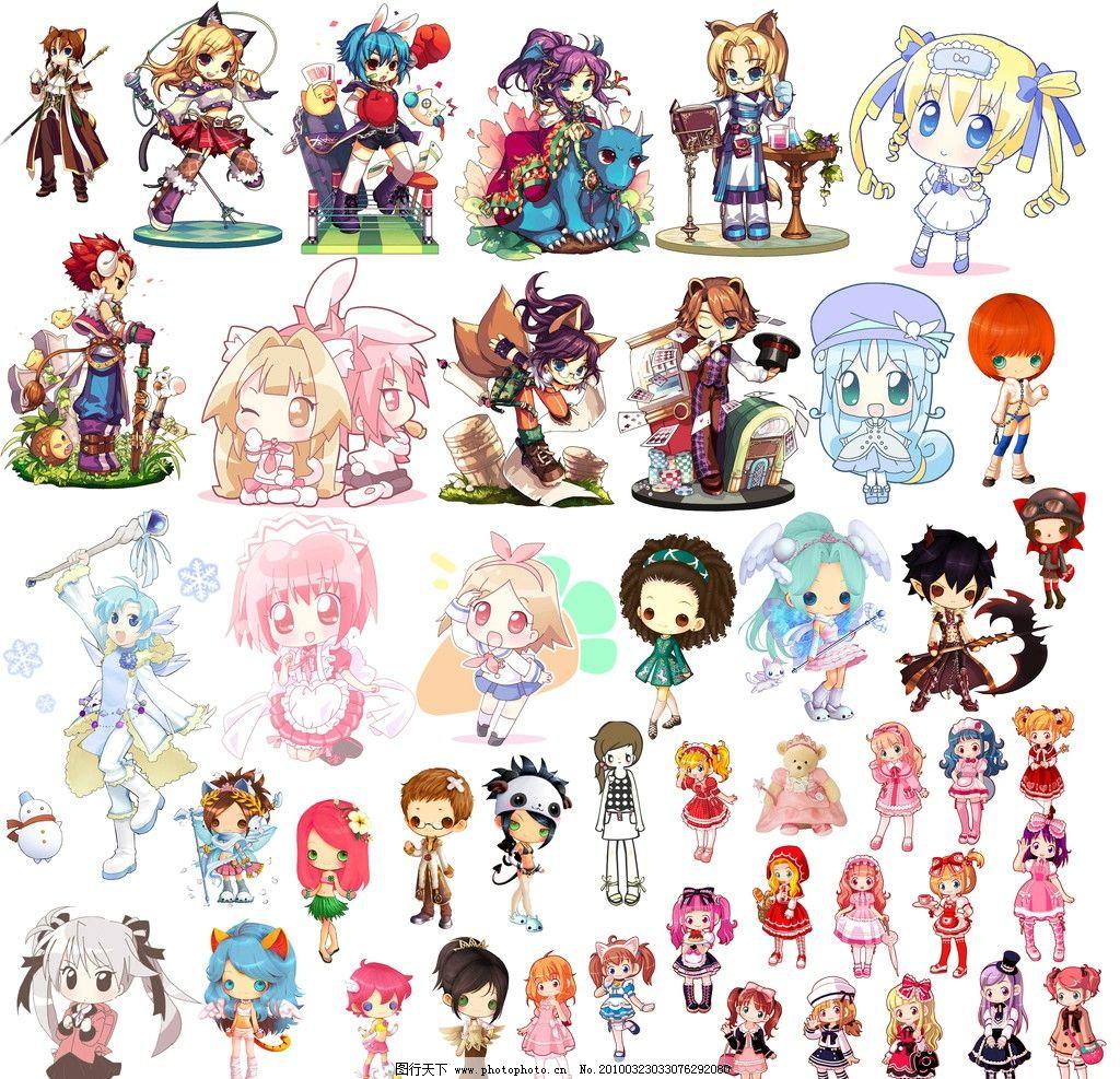 卡通人物 卡通 可爱 女孩 娃娃 psd分层素材 源文件 72dpi psd