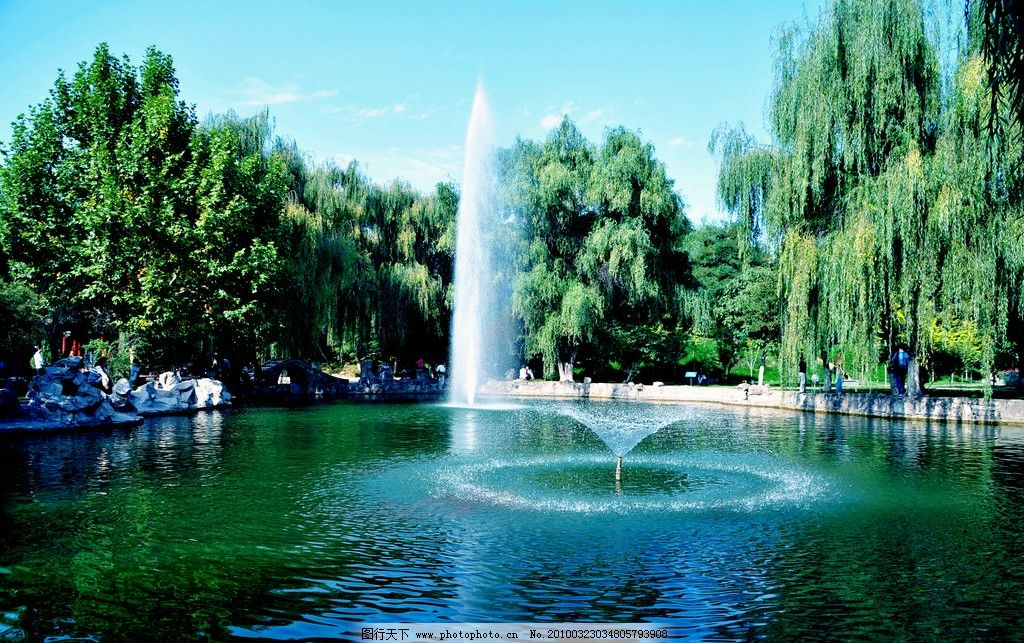 校园喷泉图片