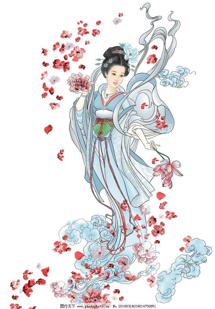 古典美女 仙女散花 工笔画 中国画图片
