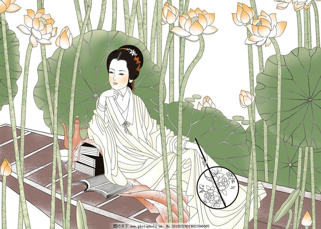 古典美女 美女坐舟 荷花女 工笔画 中国画图片