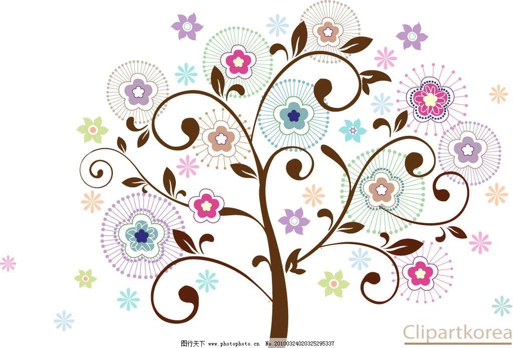 焕彩花朵图案 矢量 花朵 焕彩 彩虹 星星 线条 韩国矢量图 花纹花边