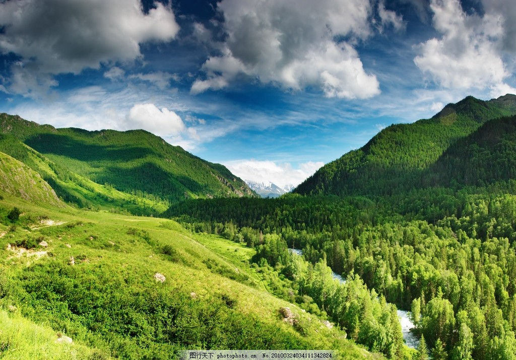 设计图库 自然景观 自然风景  蓝天白云山丘树林高清图片 蓝天 白云