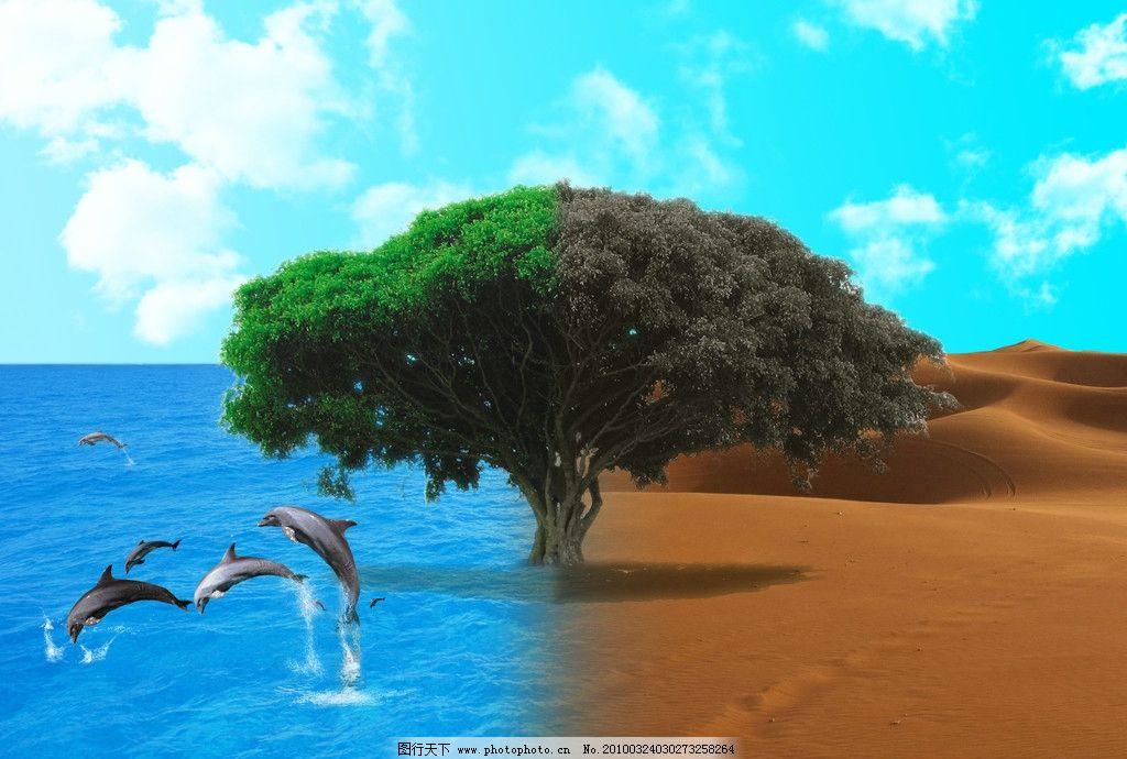 海洋沙漠 海洋 沙漠 海豚 树木 干枯 蓝天白云 媒体 dm宣传单 广告