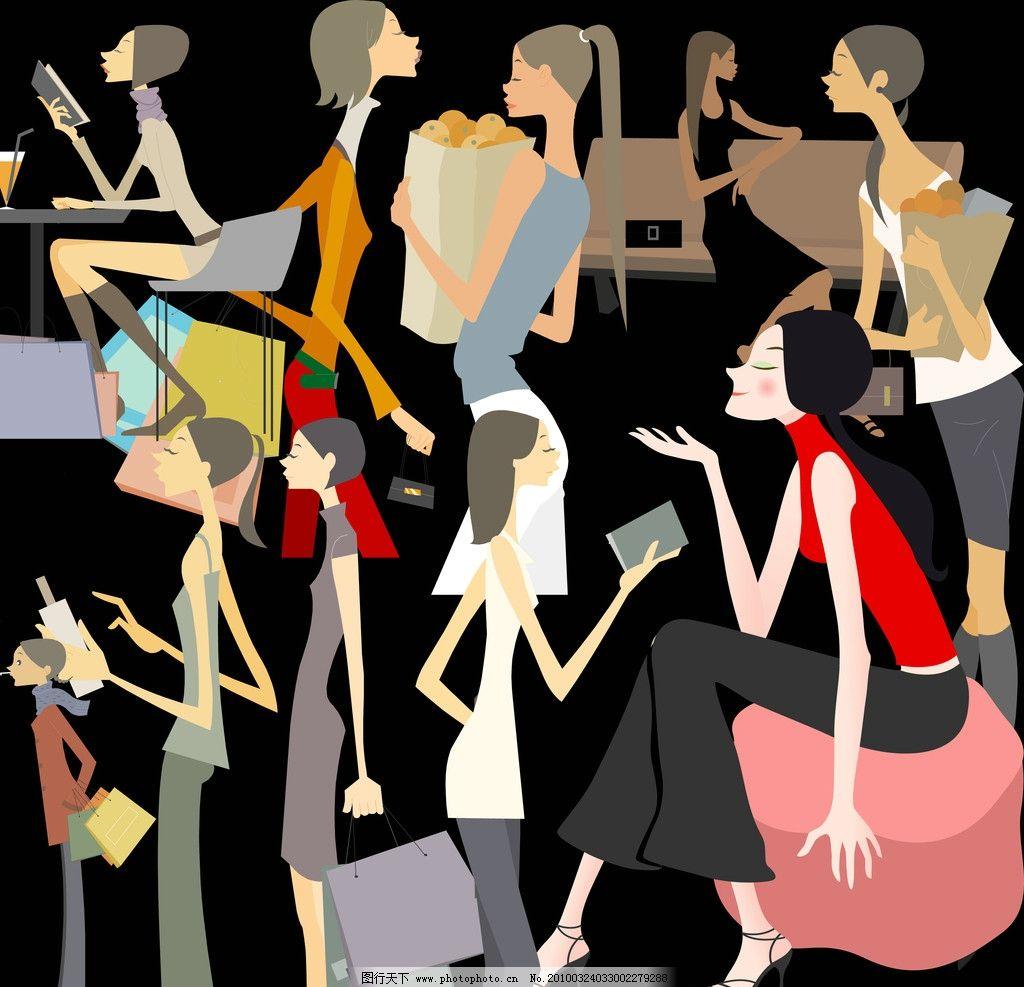 女插画图片5张  手绘漫画插画图片-唯美黑白手绘插画图片_手绘花_人物