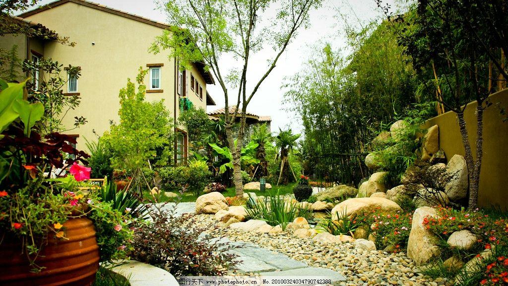 植物 小路 石子 鹅卵石 花盆 房屋 别墅 树木 石板 建筑景观 自然景