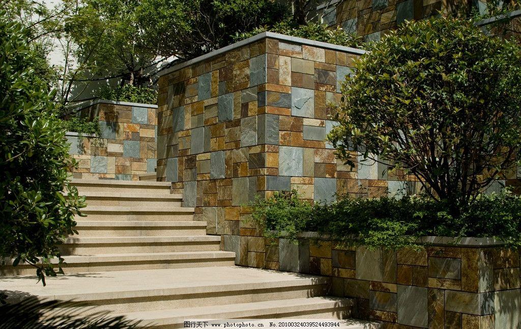 园林石阶路 建筑园林 石阶 豪宅 晴朗 现代 欧式 园林建筑 摄影 240