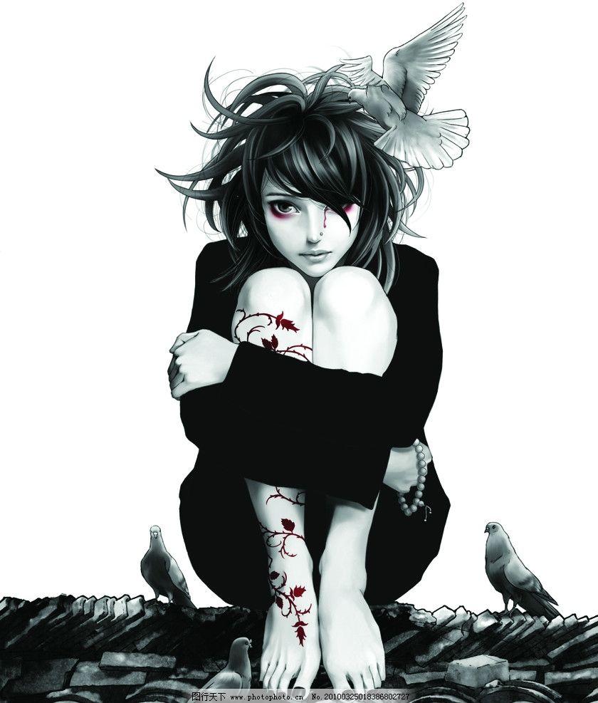 动漫美女 白鸽 玫瑰纹身 红色的血 手链 黑色 600dpi 动漫人物 动漫