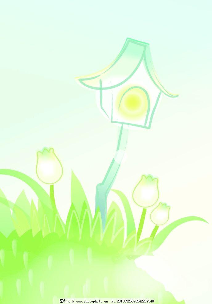 春天印象 房子 草叢 花朵 抽象 背景底紋 底紋邊框 設計 72dpi jpg