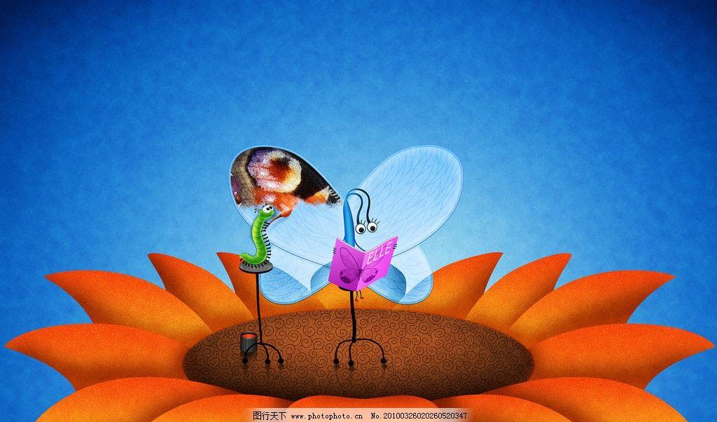 虫子 卡通 动漫 蝴蝶 高清桌面壁纸 高清桌面背景 背景底纹 底纹边框